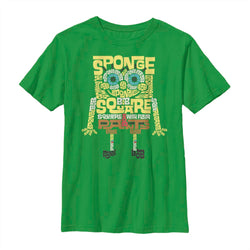SpongeBob Type Green Kids Short Sleeve T-Shirt - SpongeBob SquarePants Official Shop