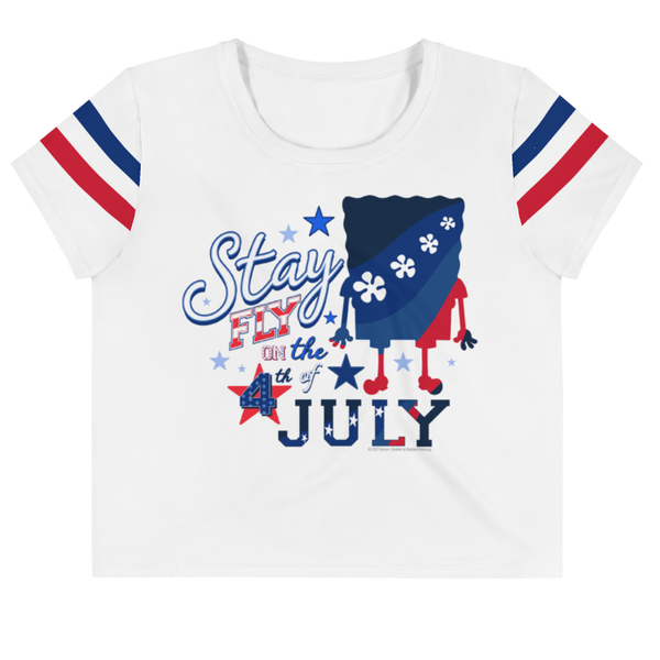 SpongeBob SquarePants 4th of July Women's All-Over Print Crop T-Shirt