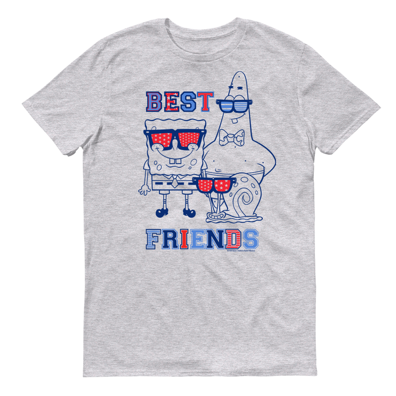 SpongeBob SquarePants Americana Best Friends Adult Short Sleeve T-Shirt - SpongeBob SquarePants Official Shop