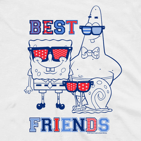 SpongeBob SquarePants Red, White and Blue Best Friends Adult Tank Top