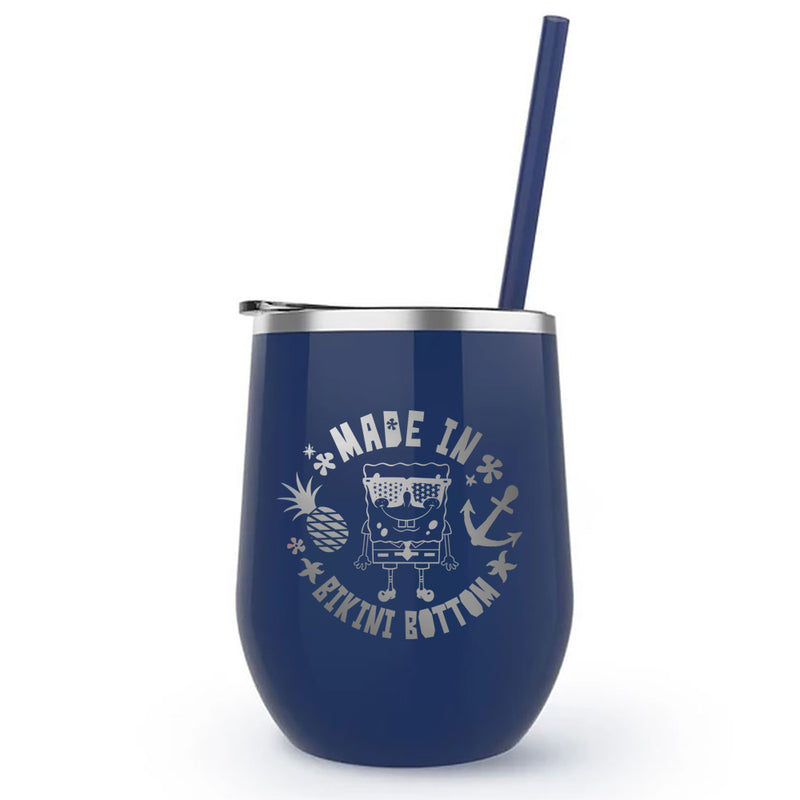 SpongeBob SquarePants Made in Bikini Bottom Laser Engraved Wine Tumbler with Straw - SpongeBob SquarePants Official Shop
