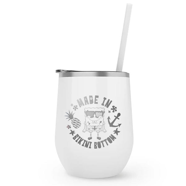 SpongeBob SquarePants Made in Bikini Bottom Laser Engraved Wine Tumbler with Straw