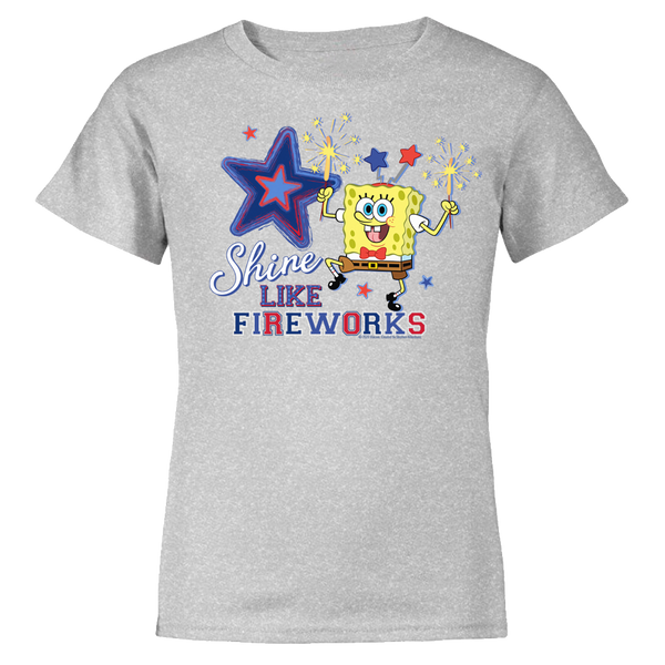 SpongeBob SquarePants Shine Like Fireworks Kids Short Sleeve T-Shirt