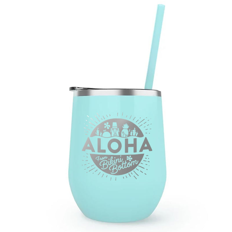 SpongeBob SquarePants Aloha Laser Engraved Wine Tumbler with Straw - SpongeBob SquarePants Official Shop