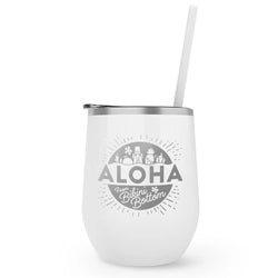 SpongeBob SquarePants Aloha Laser Engraved Wine Tumbler with Straw