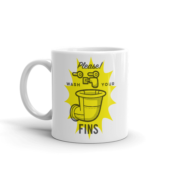 SpongeBob SquarePants Wash Your Fins White Mug