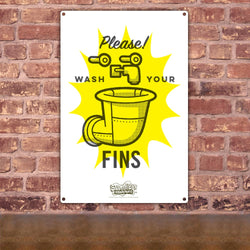 SpongeBob SquarePants Wash Your Fins Metal Sign