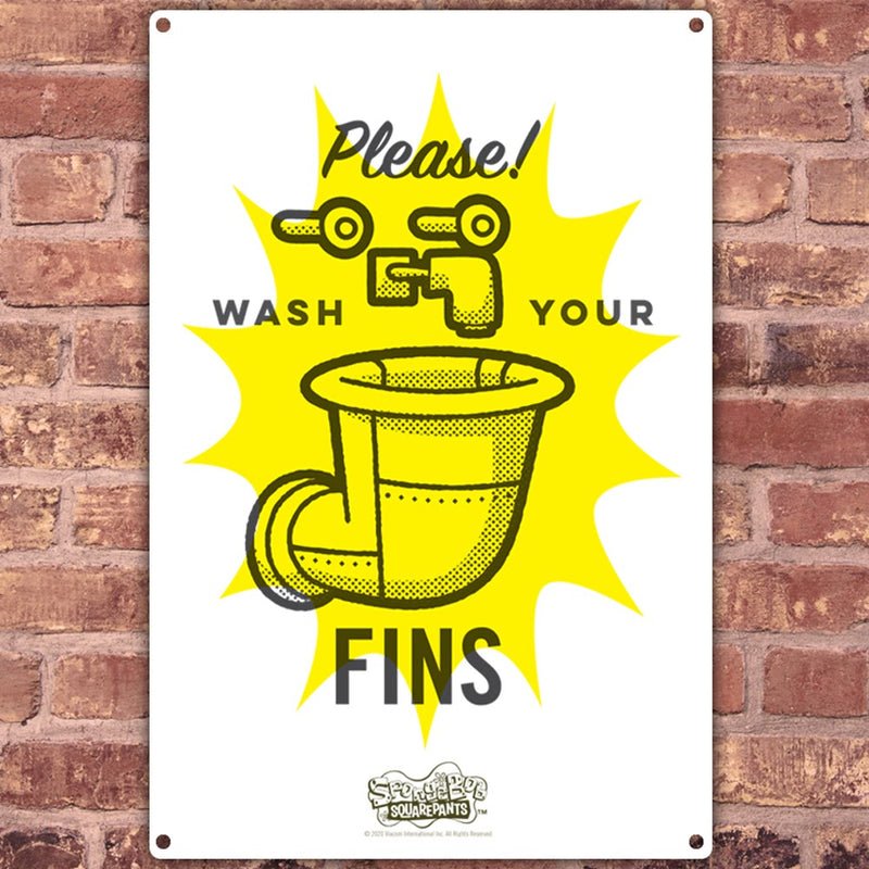 SpongeBob SquarePants Wash Your Fins Metal Sign - SpongeBob SquarePants Official Shop