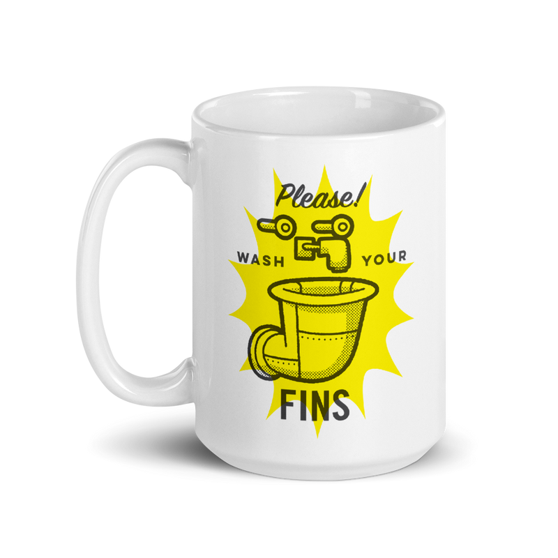 SpongeBob SquarePants Wash Your Fins White Mug - SpongeBob SquarePants Official Shop