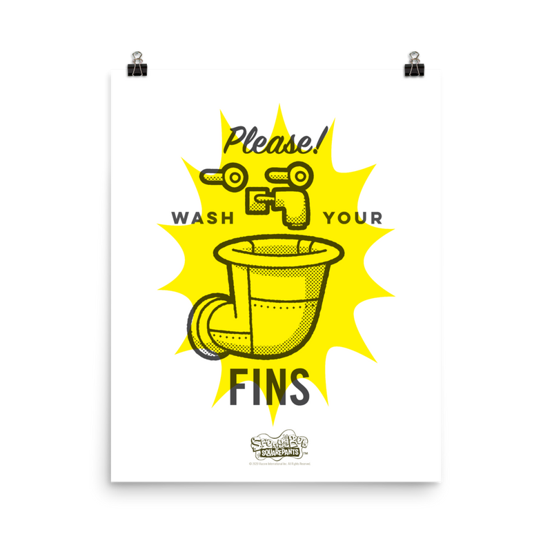SpongeBob SquarePants Wash Your Fins Premium Satin Poster