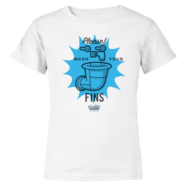 SpongeBob SquarePants Wash Your Fins Kids Short Sleeve T-Shirt
