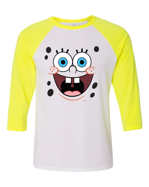 SpongeBob SquarePants Big Face Raglan Sleeve Baseball T-Shirt