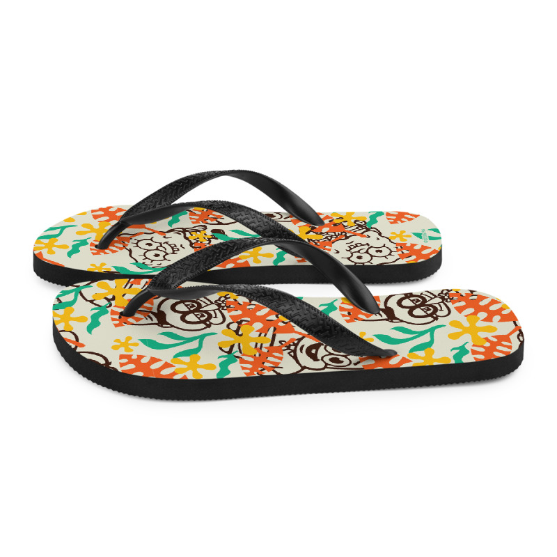SpongeBob SquarePants Sponge on the Run Camp Coral Floral Adult Flip Flops