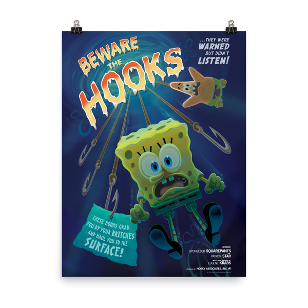 SpongeBob SquarePants Beware the Hooks Premium Satin Poster - SpongeBob SquarePants Official Shop