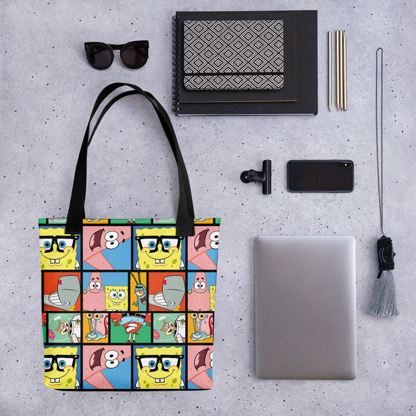 SpongeBob SquarePants Characters Grid Premium Tote Bag - SpongeBob SquarePants Official Shop