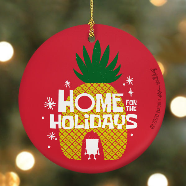 SpongeBob SquarePants Home for the Holidays Round Ceramic Ornament - SpongeBob SquarePants Official Shop