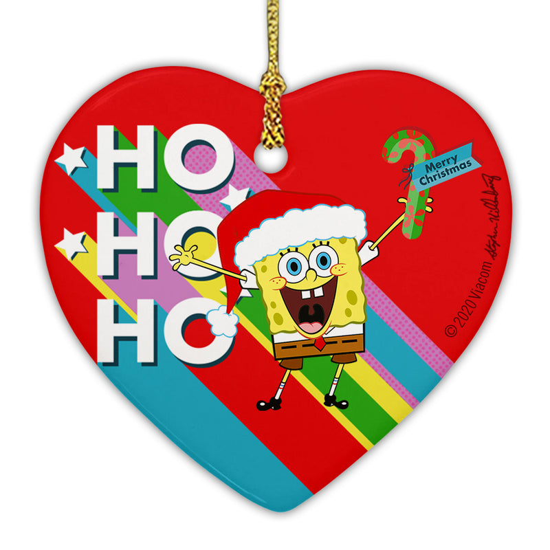 SpongeBob SquarePants Ho Ho Ho Ceramic Heart Ornament - SpongeBob SquarePants Official Shop