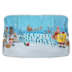 SpongeBob 'Tis the Season Happy Holidays Sherpa Blanket - SpongeBob SquarePants Official Shop