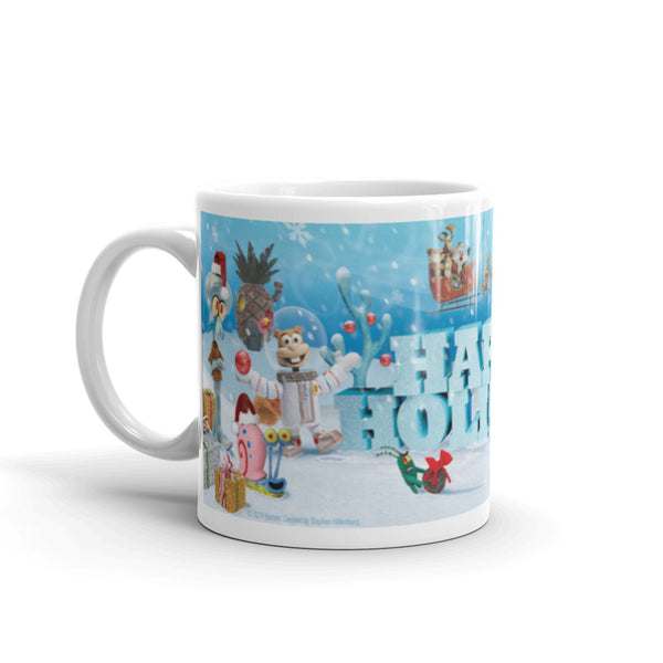 SpongeBob Happy Holidays 11 oz White Mug - SpongeBob SquarePants Official Shop