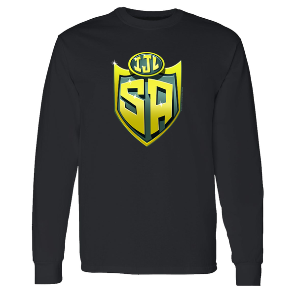 SpongeBob SquarePants Justice League Shield Adult Long Sleeve T-Shirt