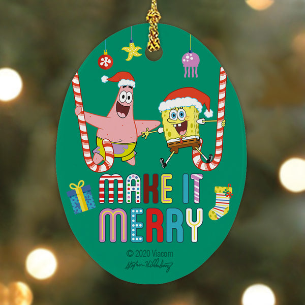 SpongeBob SquarePants Make It Merry Oval Ceramic Ornament - SpongeBob SquarePants Official Shop