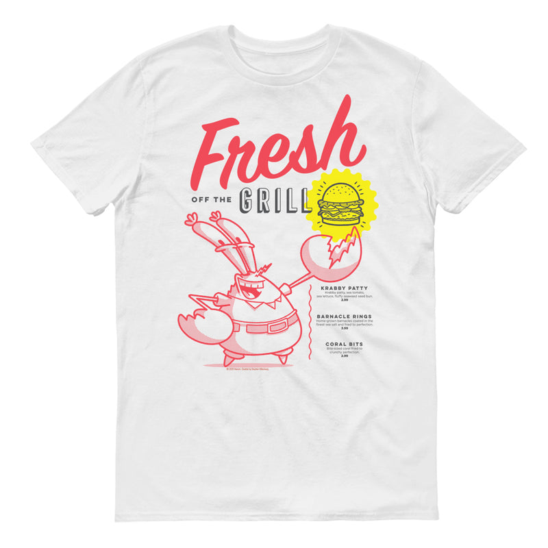 The Krusty Krab Mr. Krabs Fresh Off the Grill Adult Short Sleeve T-Shirt - SpongeBob SquarePants Official Shop