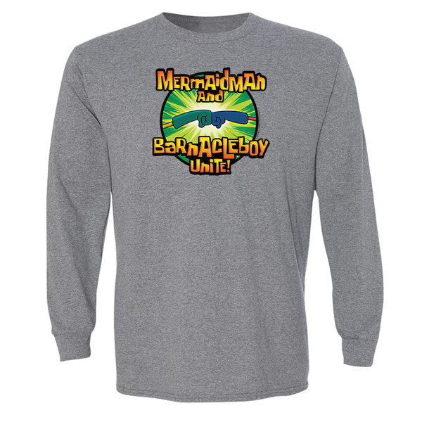 SpongeBob SquarePants Mermaid Man and Barnacle Boy Unite Logo Adult Long Sleeve T-Shirt