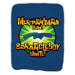 SpongeBob SquarePants Mermaid Man and Barnacle Boy Unite Logo Sherpa Blanket