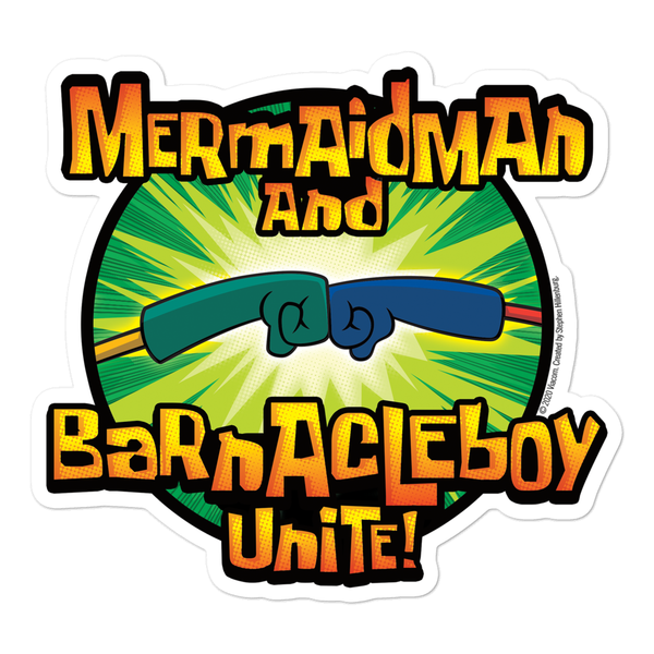 SpongeBob SquarePants Mermaid Man and Barnacle Boy Unite Logo Die Cut Sticker