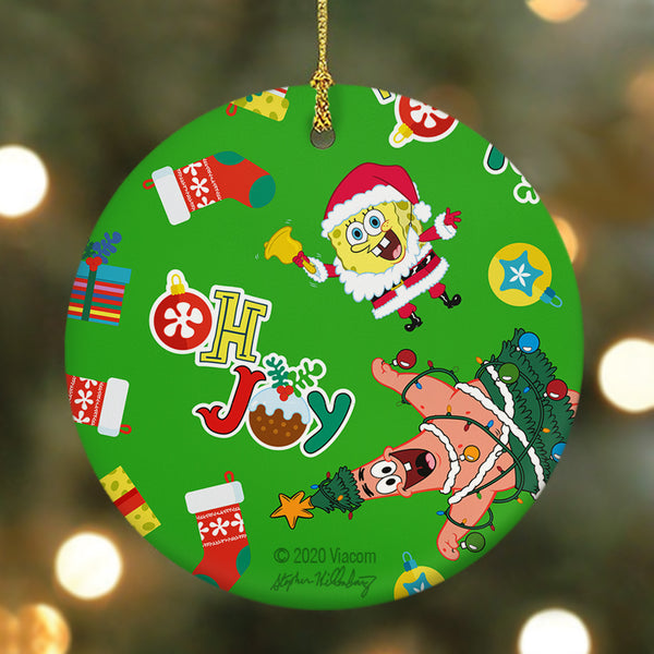 SpongeBob SquarePants Oh Joy Pattern Round Ceramic Ornament - SpongeBob SquarePants Official Shop