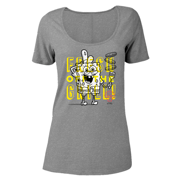 SpongeBob SquarePants The Krusty Krab SpongeBob Fresh Off the Grill Women's Relaxed Scoop Neck T-Shirt - SpongeBob SquarePants Official Shop