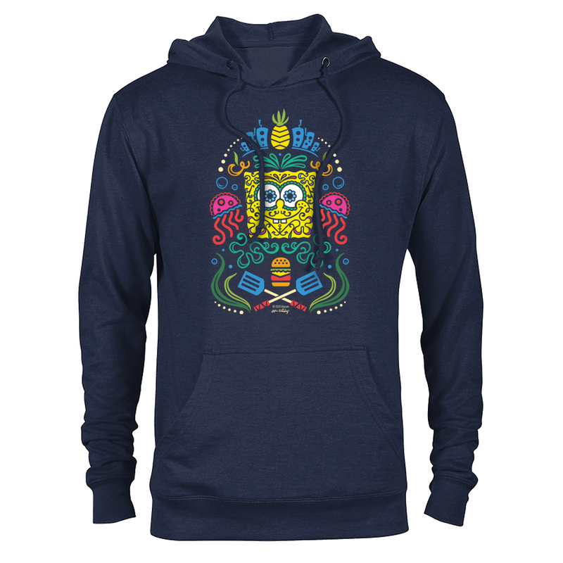 SpongeBob SquarePants Day of the Dead Full Color Lightweight Hooded Sweatshirt - SpongeBob SquarePants Official Shop