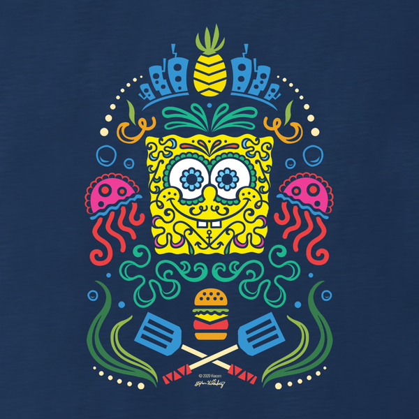 SpongeBob SquarePants Day of the Dead Full Color Women's Relaxed Scoop Neck T-Shirt - SpongeBob SquarePants Official Shop