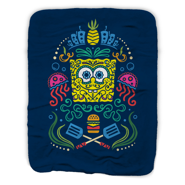 SpongeBob SquarePants Day of the Dead Full Color Sherpa Blanket - SpongeBob SquarePants Official Shop