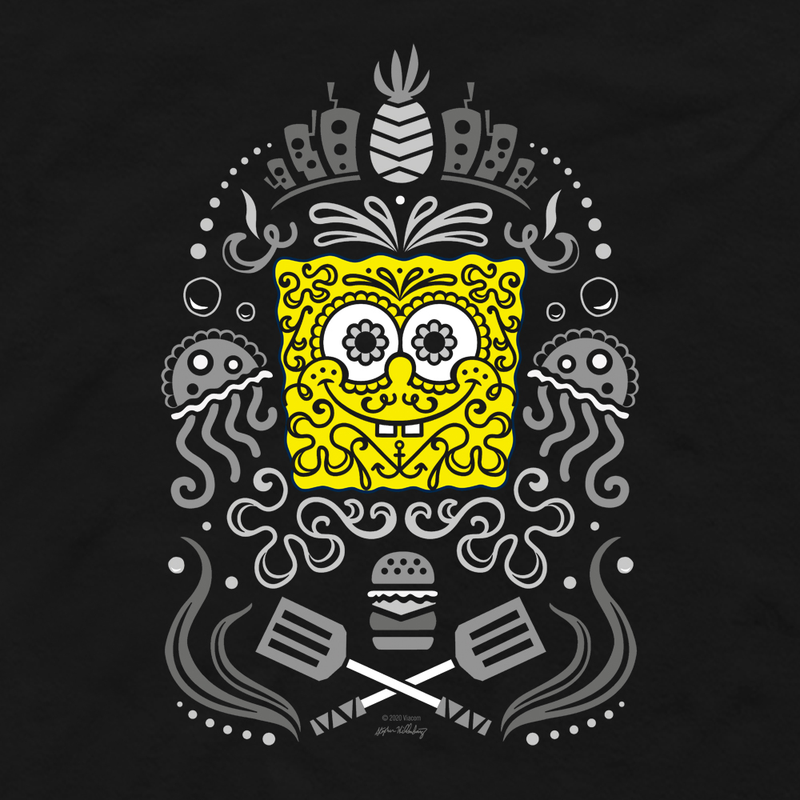 SpongeBob SquarePants Day of the Dead Reduced Color Fleece Crewneck Sweatshirt - SpongeBob SquarePants Official Shop
