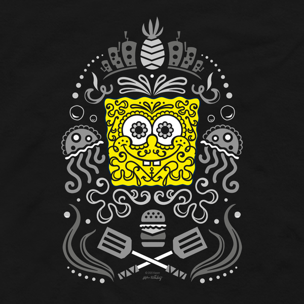 SpongeBob SquarePants Day of the Dead Reduced Color Adult Long Sleeve T-Shirt - SpongeBob SquarePants Official Shop