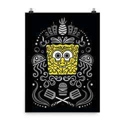 SpongeBob SquarePants Day of the Dead Reduced Color Premium Satin Poster - SpongeBob SquarePants Official Shop