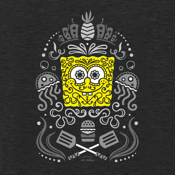 SpongeBob SquarePants Day of the Dead Reduced Color Women's Tri-Blend Dolman T-Shirt - SpongeBob SquarePants Official Shop