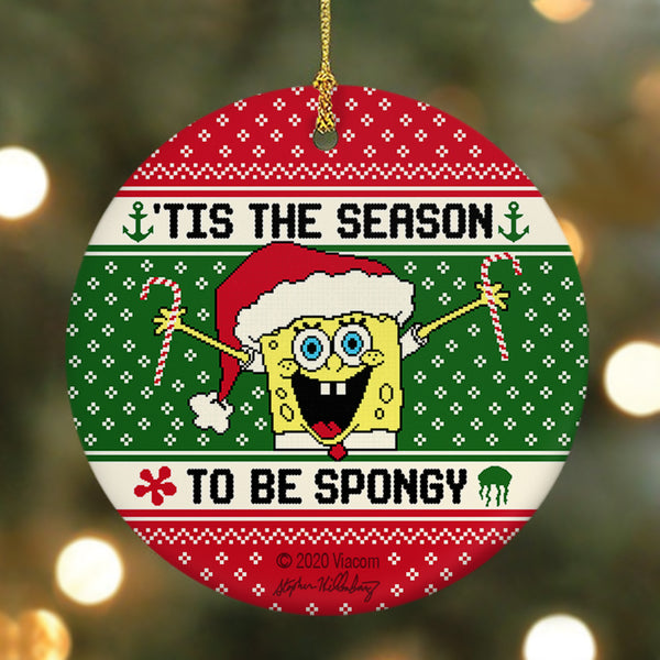 SpongeBob SquarePants 'Tis the Season Round Ceramic Ornament - SpongeBob SquarePants Official Shop