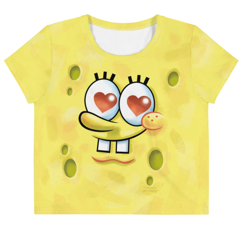 SpongeBob SquarePants Heart Eyes Women's All-Over Print Crop T-Shirt