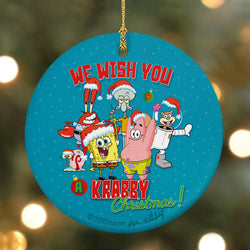 SpongeBob SquarePants We Wish You a Krabby Christmas Round Ceramic Ornament - SpongeBob SquarePants Official Shop