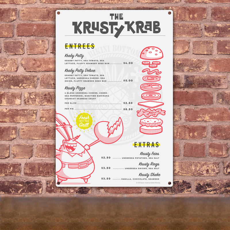 SpongeBob SquarePants The Krusty Krab Menu Metal Sign - SpongeBob SquarePants Official Shop