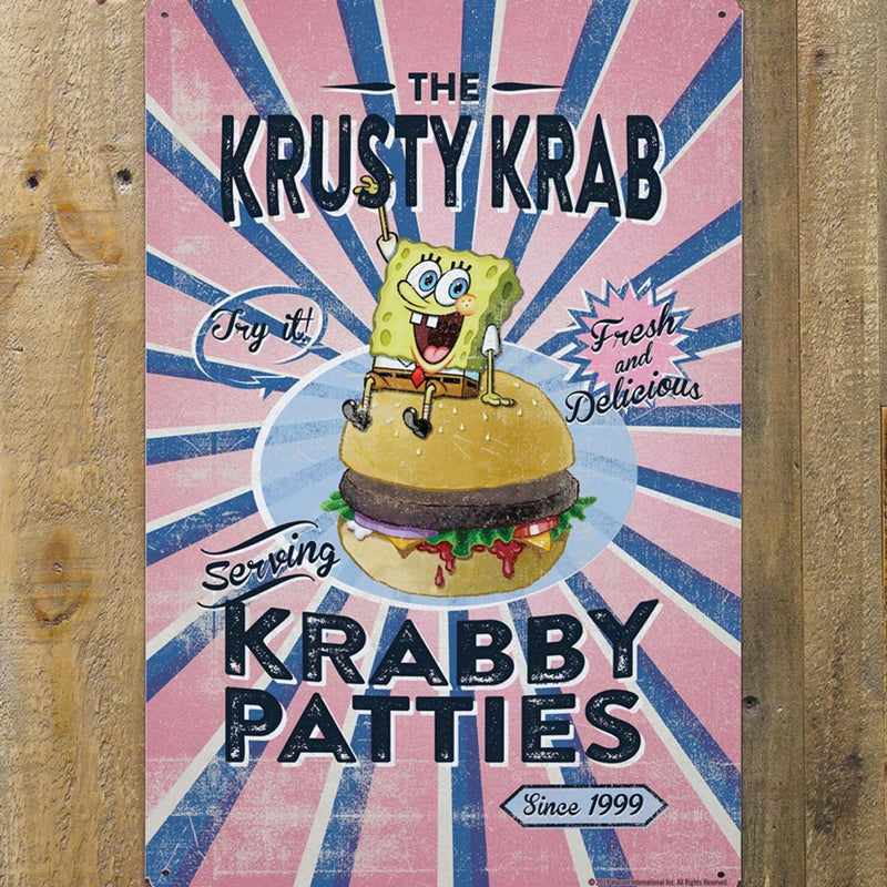 "The Krusty Krab Krabby Patties Metal Sign - 12"" x 18"" - SpongeBob SquarePants Official Shop"