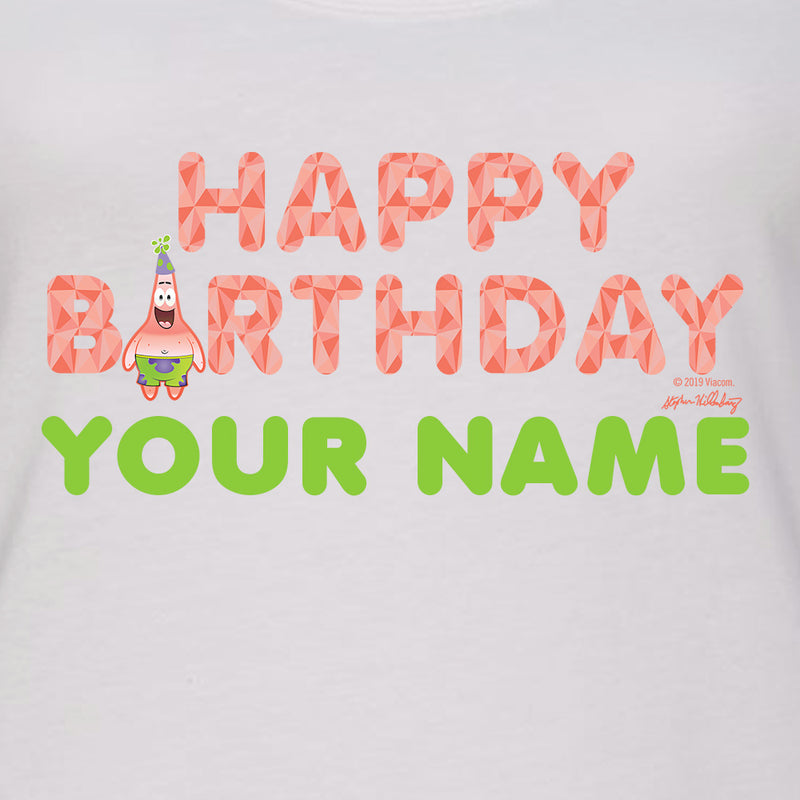 SpongeBob SquarePants Patrick Star Happy Birthday Emoji Personalized Women's Racerback Tank Top