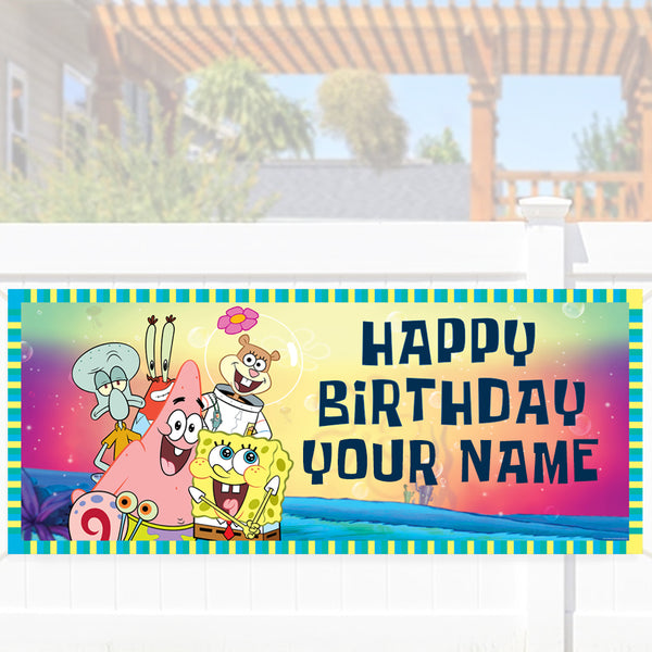 Spongebob Squarepants Group Shot Personalized Banner - SpongeBob SquarePants Official Shop
