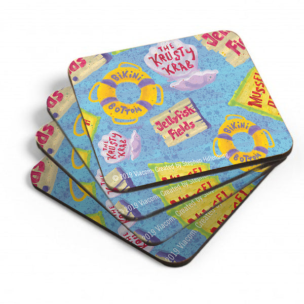 The Krusty Krab Pattern Coaster - Set of 4