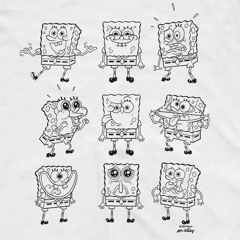 SpongeBob SquarePants Black and White Moody Short Sleeve T-Shirt - SpongeBob SquarePants Official Shop