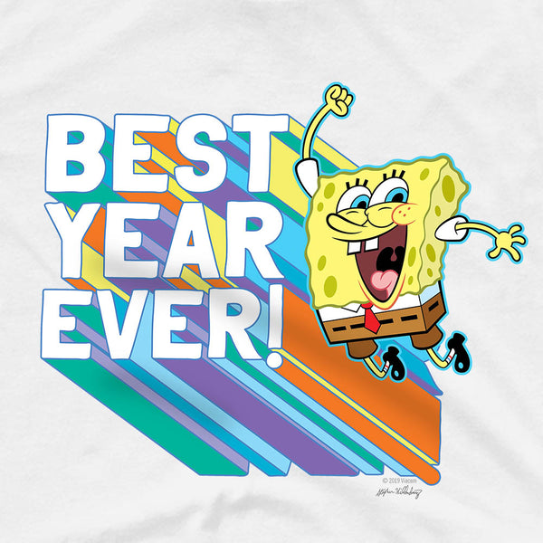 SpongeBob SquarePants Rainbow Best YearAdult Short Sleeve T-Shirt