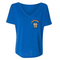 SpongeBob SquarePants Britto Rainbow Women's Relaxed V-Neck T-Shirt