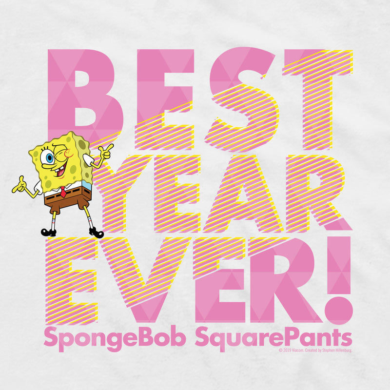SpongeBob SquarePants Best Year Ever Pink Adult Short Sleeve T-Shirt